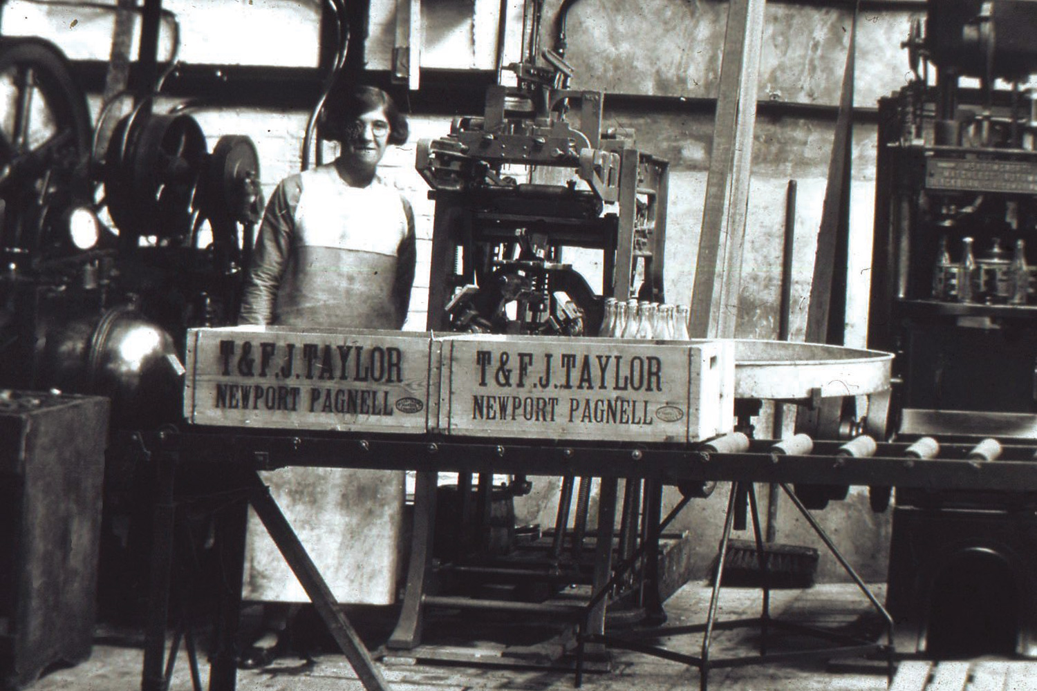 The factory under the auspices of William Taylor's sons, Thomas and Frederick James. As well as mustard, the factory also produced soda water. Black and white images courtesy of the  Newport Pagnell Historic Society