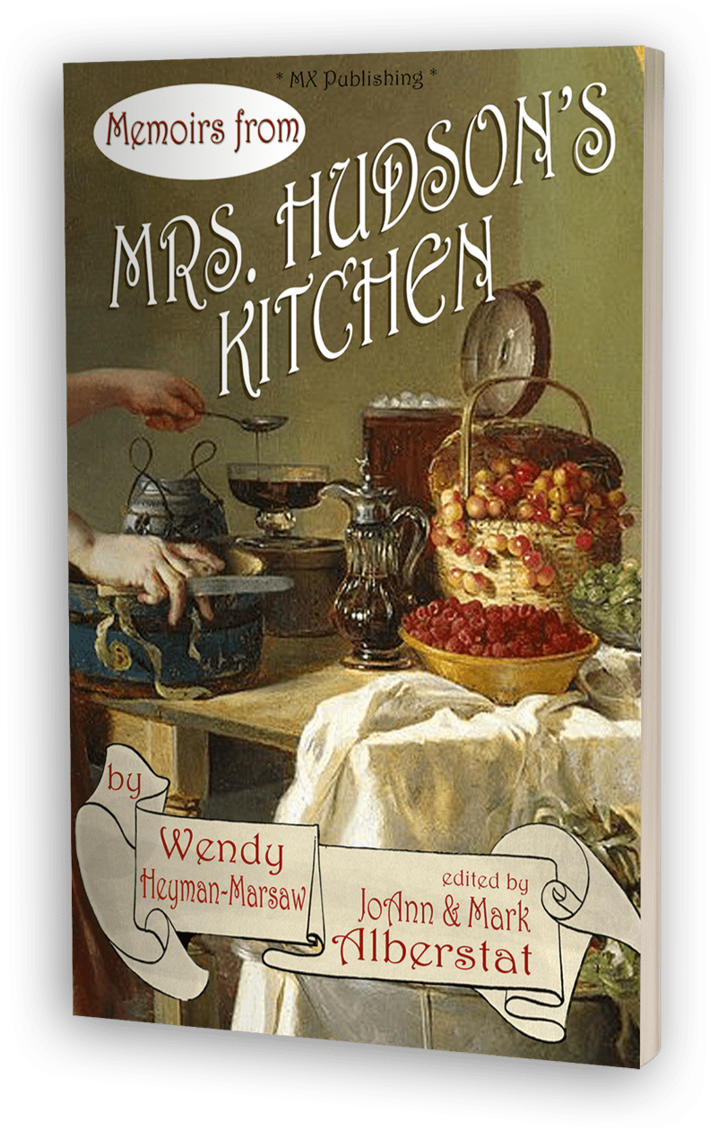 From Mrs. Hudson's unique perspective comes a book about her famous lodgers and their involvement with various aspects of Victorian life.  Over 50 recipes are included that reflect dishes Sherlock Holmes and Dr. Watson would have enjoyed.   - AVAILABLE FOR PURCHASE FROM THESE FINE RETAILERS:Amazon UK →                    Amazon US →Barnes and Noble →                Book Depository →Also Available as an Audio Book and eBook Kindle.