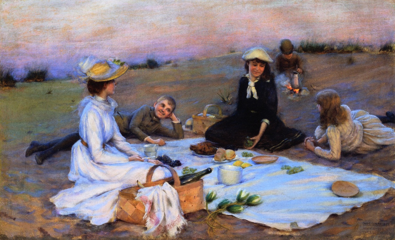 "Source: ""Picnic Supper on the Sand Dunes Charles"". Artist: Courtney Curran, 1890."
