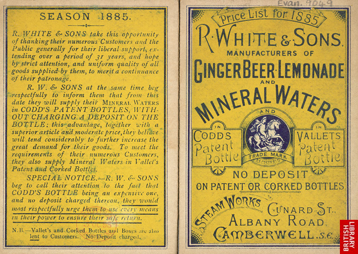 Advert for R White & Sons, lemonade manufacturer — 1885 (source: British Library)