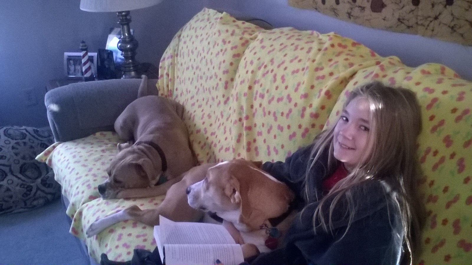 - The pups snuggling with Kid #2