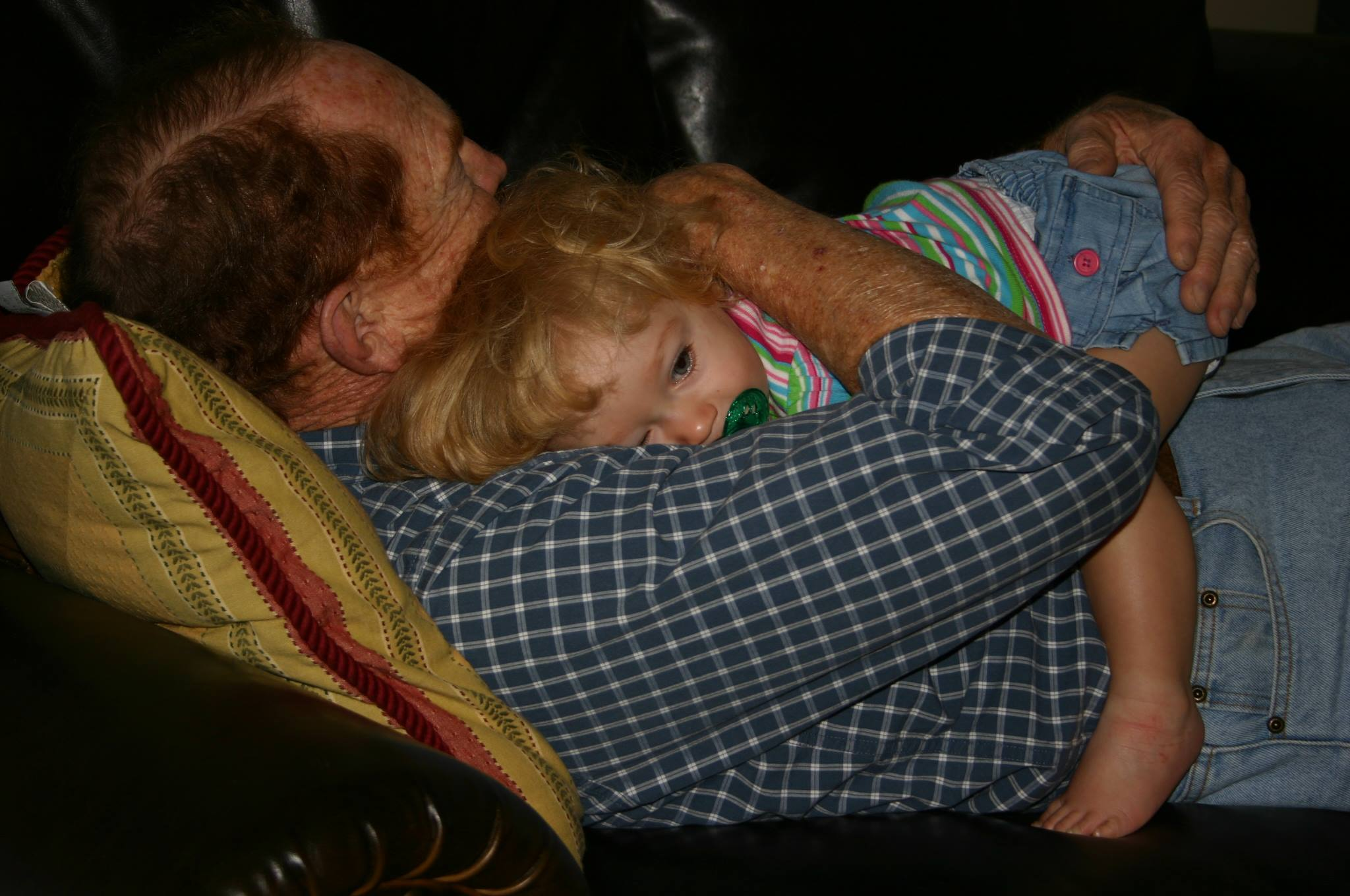 Grandfather and granddaughter together--what better reason to choose to be in a good mood every morning?