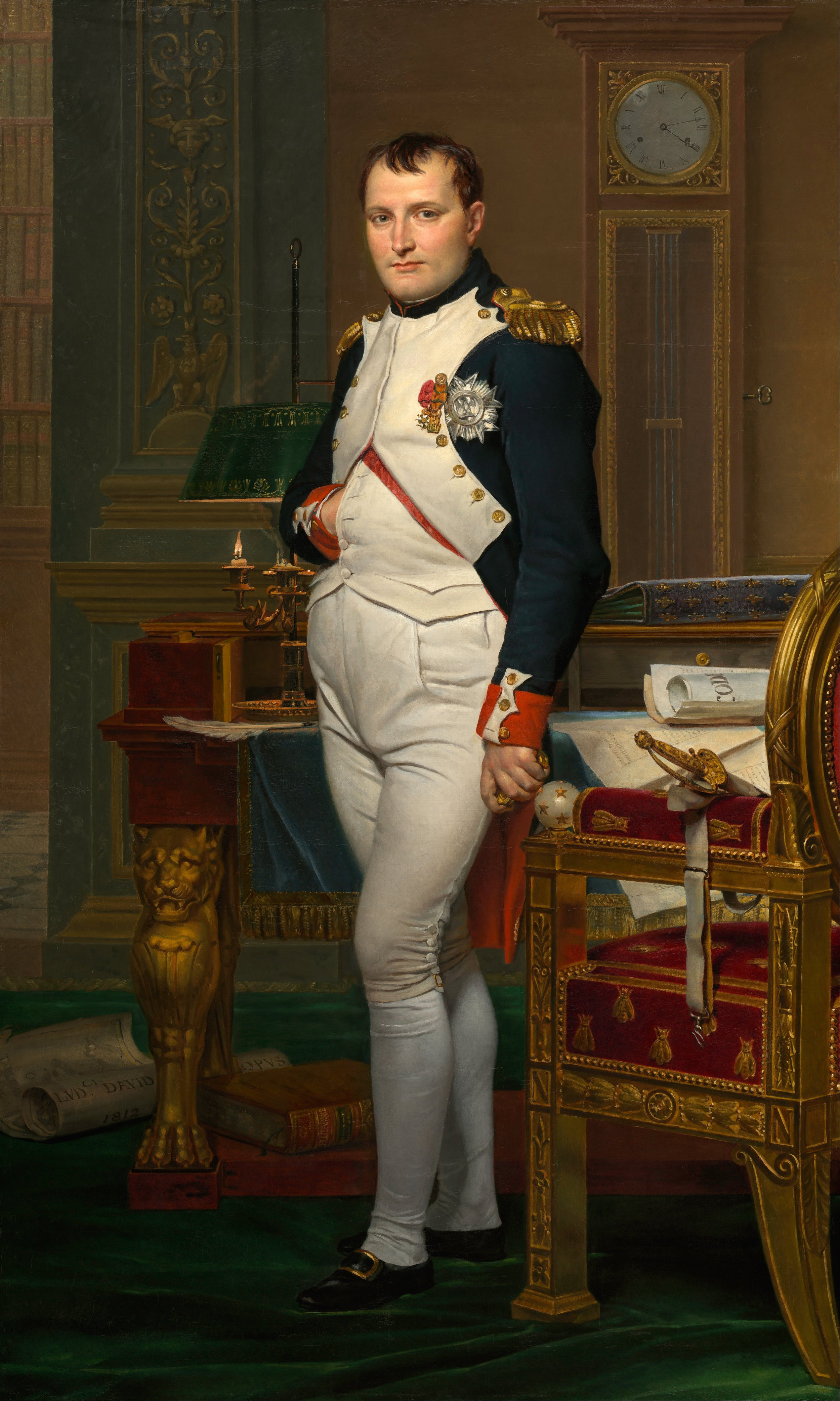 Portrait of Napoleon by Jacques-Louis-David - 'The Emperor Napoleon In His Study At the Tuileries' (wikipedia--accessed 5/27/18 at 6:47am)