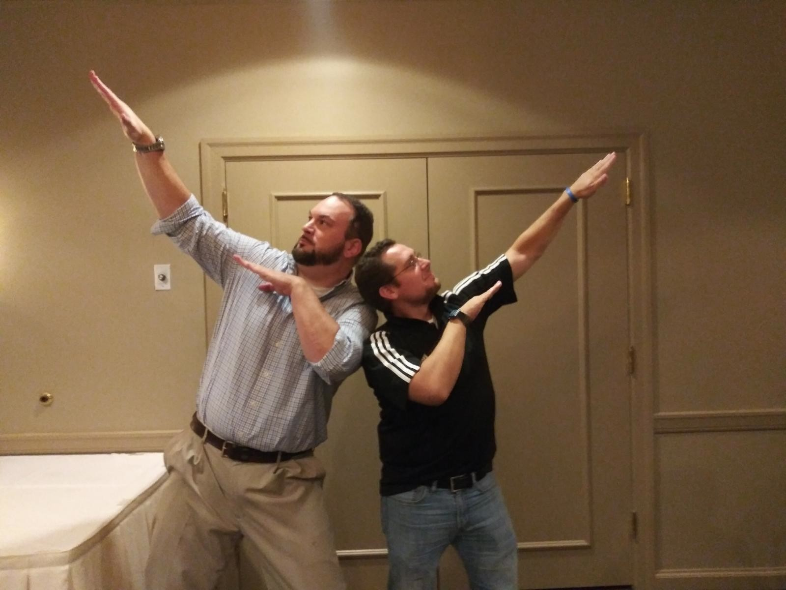 My best friend, David, and me—just doing what we do at his wedding rehearsal dinner back in October.