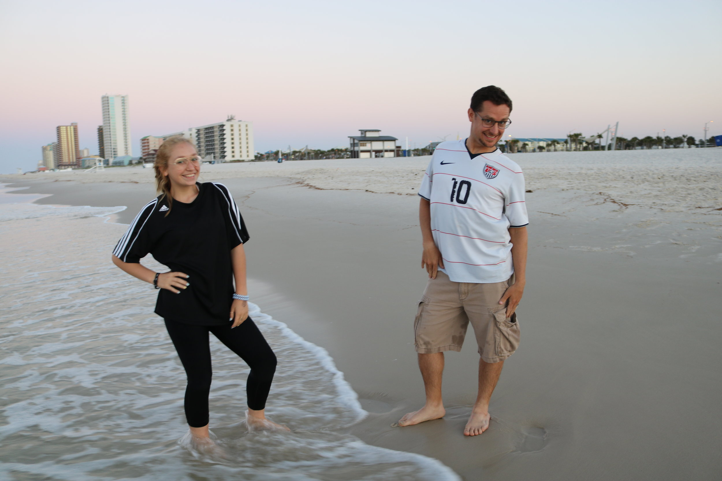 On our recent beach trip, I tried to mimic my daughter's pose. I failed.