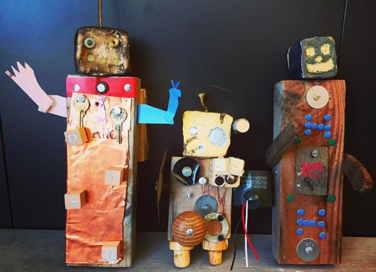 Robots mixed media made from So Made Kit