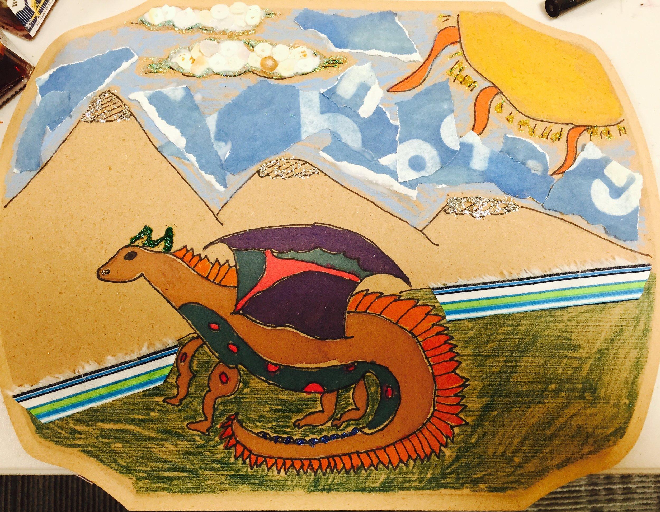 Mixed media dragon by Jacob