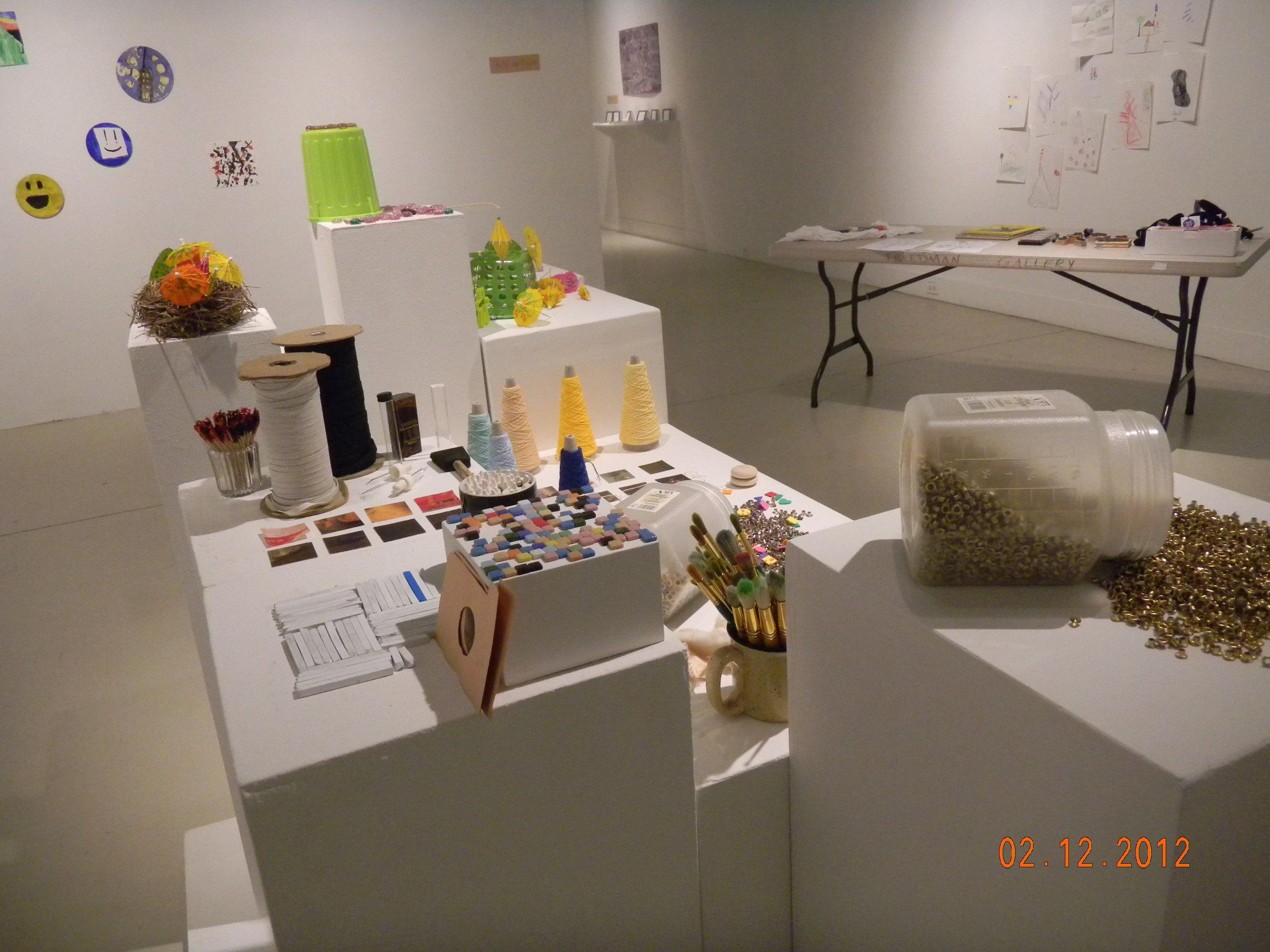Iinstallation kids art in gallery from juried exhibition