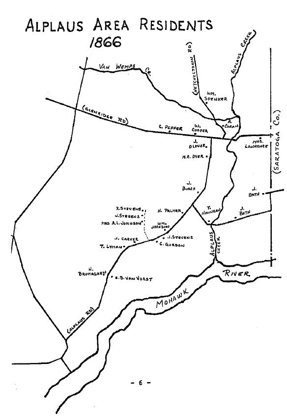A map of residences in Alplaus, N.Y. in 1866