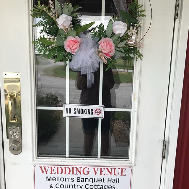 New wreath I made for my front door at the Red Barn.  Some of the many talents we have to offer to our couples!