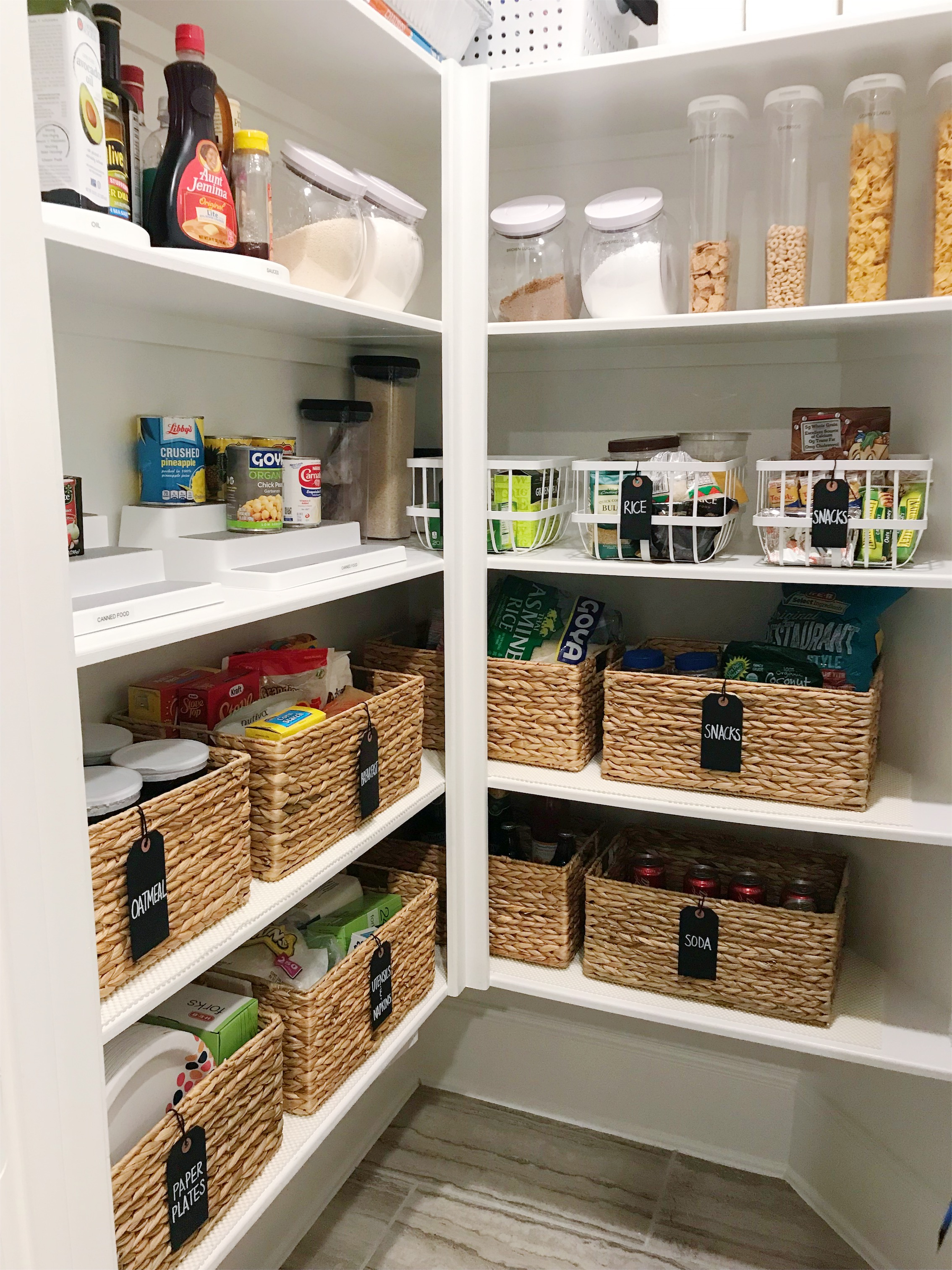 Pantry Organization - This pantry was decluttered and organized and now reveals a functional and organized space.