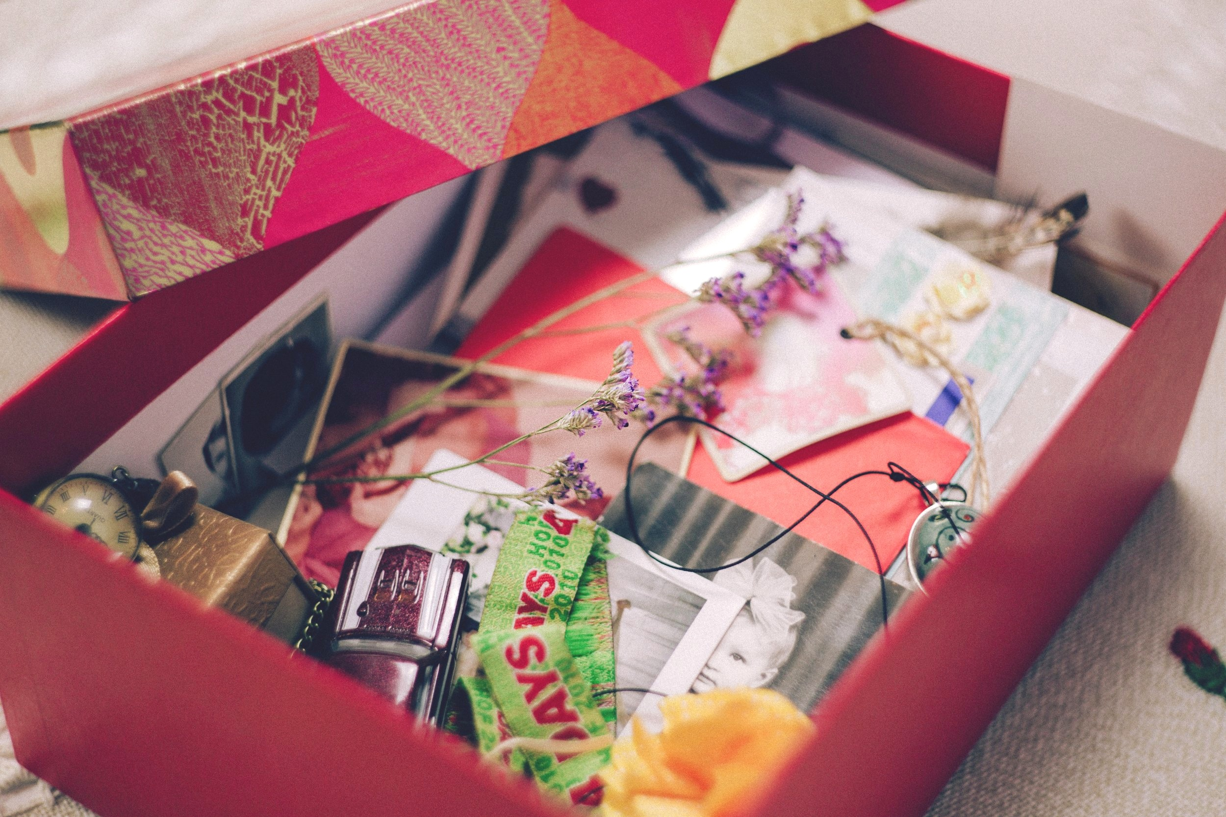 A box full of sentimental items
