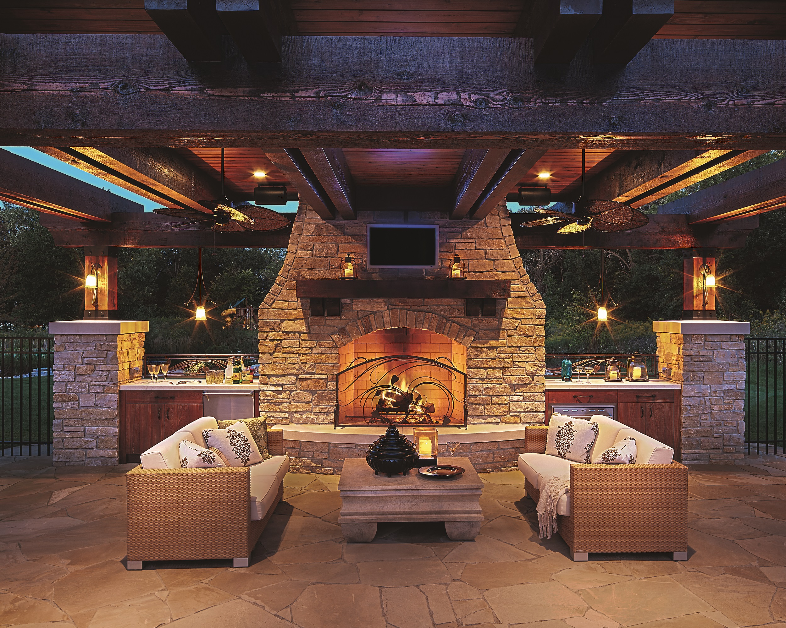 A view from our Medina cabana– A full bar with TV, fireplace and the perfect mood lighting.