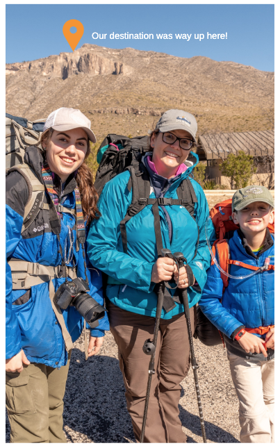 My daughter Gwen, son Reed and I getting ready to depart on our backpacking trip in the Guadalupe Mountains. Photo by Jeff Wooten.