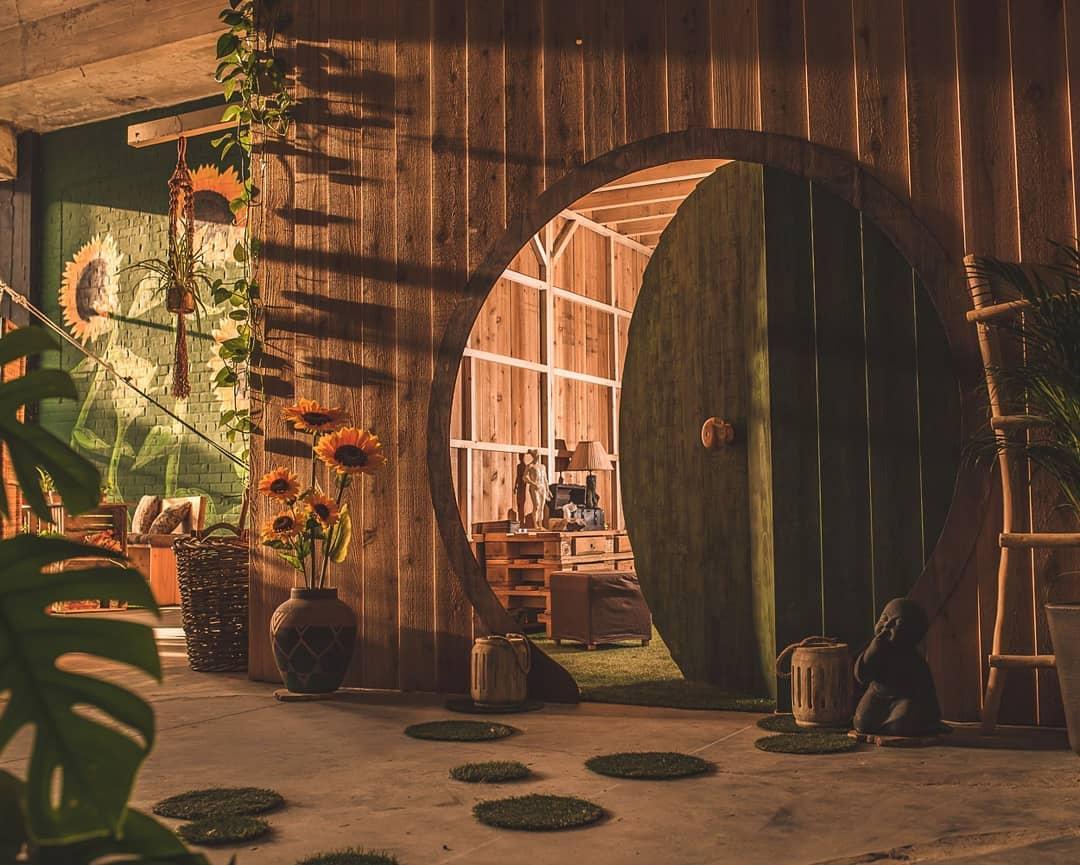 Hobbit door at a yoga studio