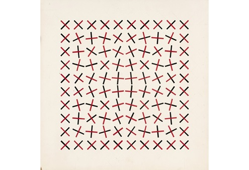 Julio Le Parc, (Argentine, born 1928). Rotation in Red and Black (Rotación en Rojo y Negro), 1959. Gouache on cardboard. 16 1/8 × 16 1/8 in. (41 × 41 cm). Promised Gift of Julio Le Parc