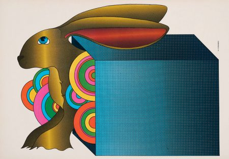 Edgardo Giménez,  Sin título (Fuera de caja)  (Untitled [Out of the Box]), 1970. Offset print on paper, 14.75 x 22 inches (37.465 x 55.88 cm). Collection of the Nasher Museum of Art at Duke University. Gift of the Institute for Studies on Latin American Art (ISLAA), 2019.10.8. © Edgardo Giménez. Photo by Peter Paul Geoffrion.