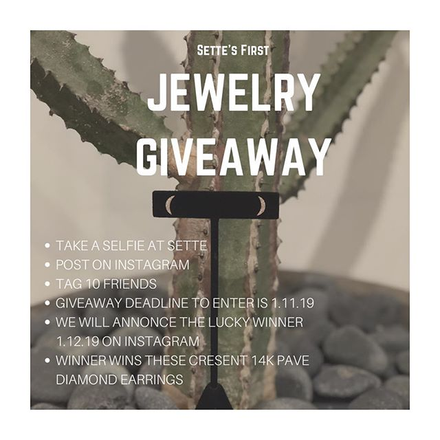 Calling all SetteSisters 📣 🎎It's time for our First Jewelry Giveaway. 💥14k Rose gold pave diamond crescent earrings💥 *See details on image
