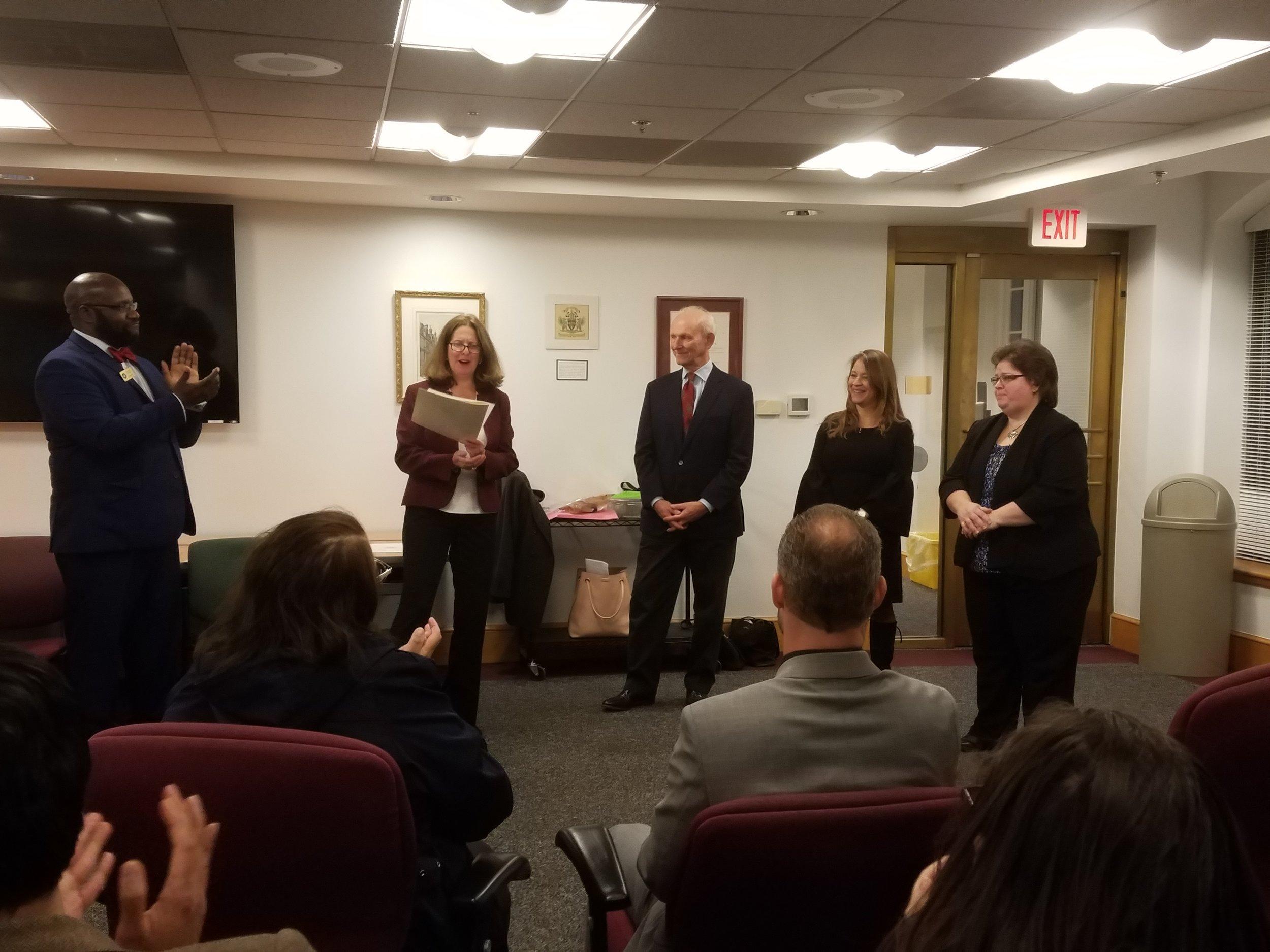 L-R: Councilman John Chapman, Mayor Allison Silberberg, Daniel Abramson, Vanessa Rodriguez, and Stephanie Oliver