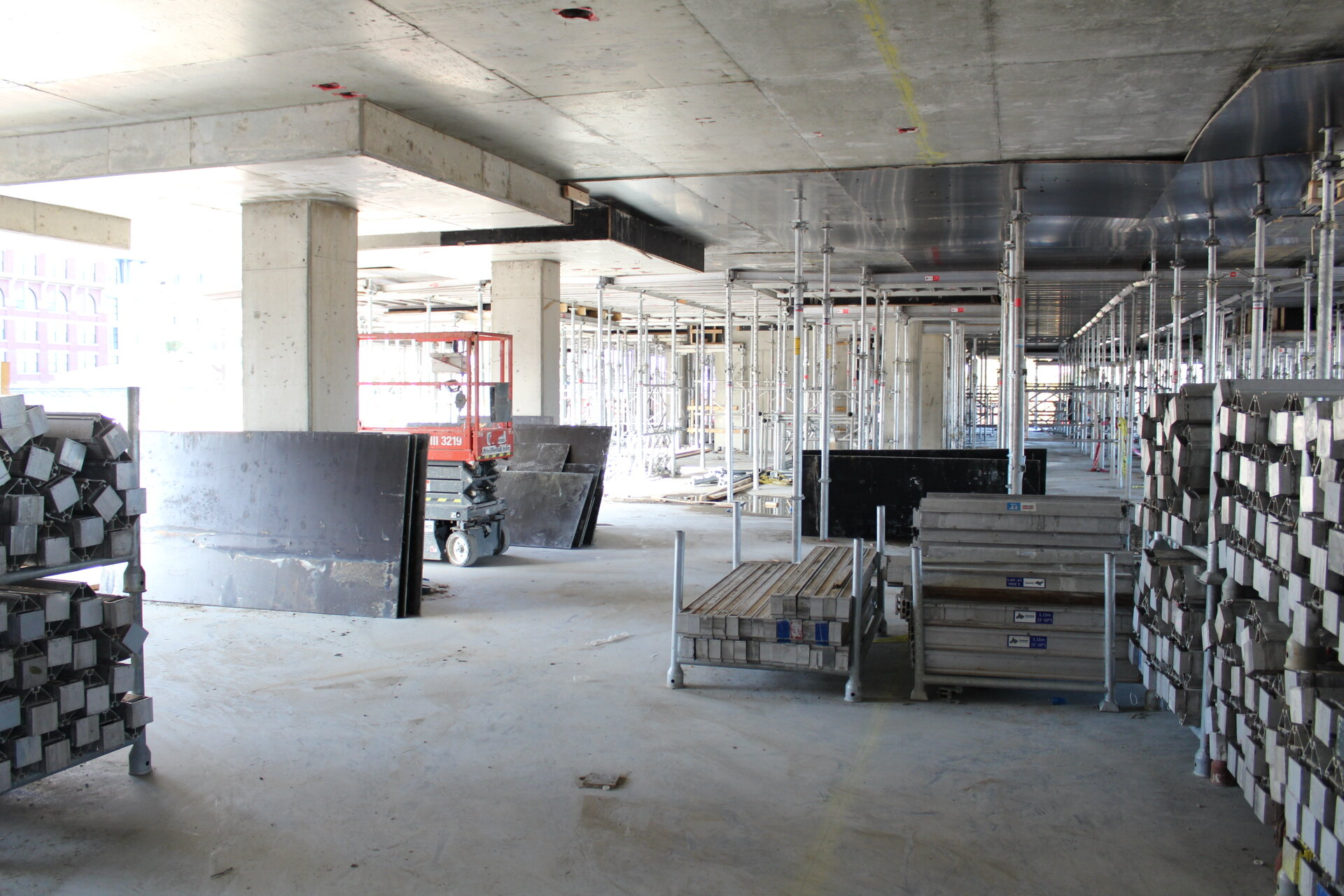 Looking northbound on the second floor into future residential spaces.