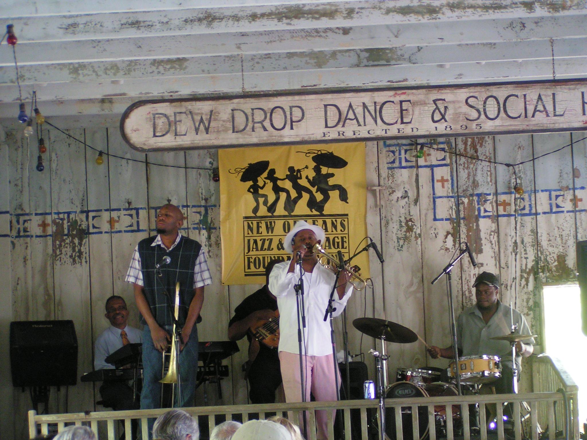 Dew Drop Jazz Hall, Mandeville. Kermit Ruffins and his band. Courtesy LouisianaNorthshore.com.JPG