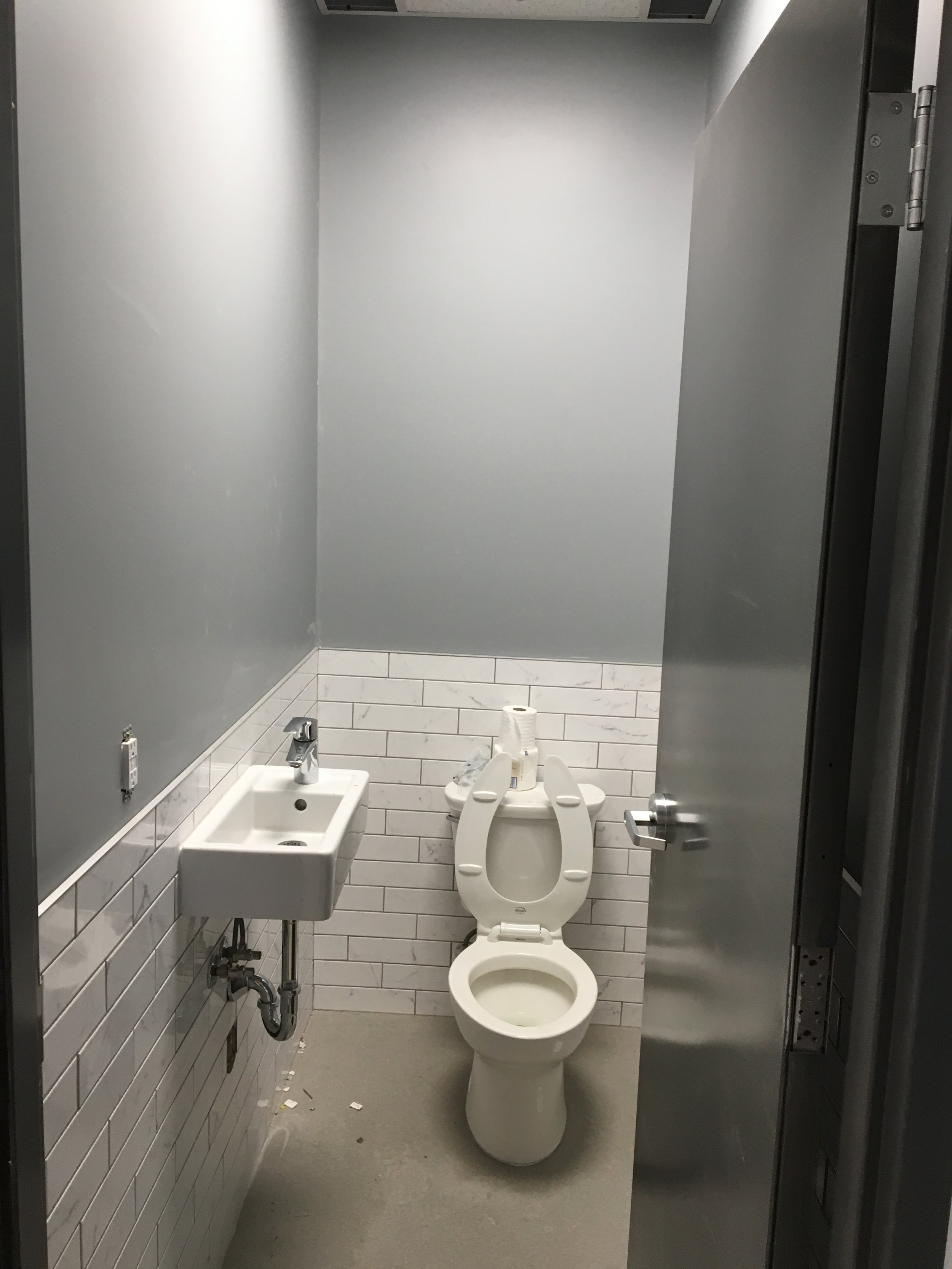 One of three washrooms , all waiting for flooring next week.