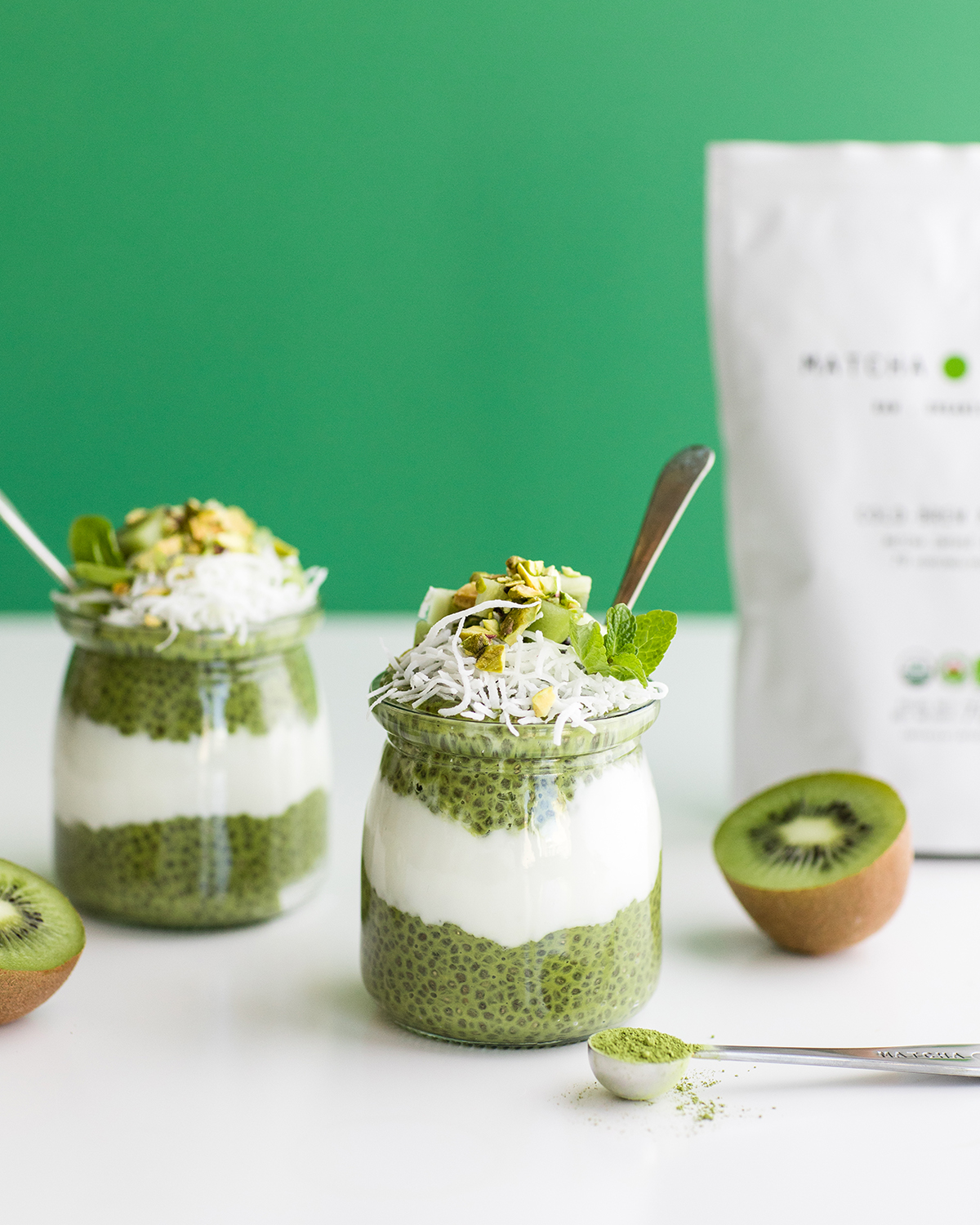 - Ingredients:1 cup almond milk2.5 tbs chia seeds1-2 tsp Matcha1 tsp vanilla--Mix and set in fridge for 1-2 hours or overnight!