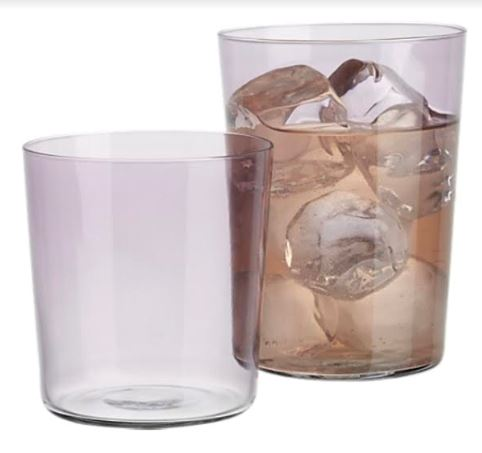 These Lilac bar glasses are perfect for an old fashioned or a festive cocktail, found at  www.cb2.com .