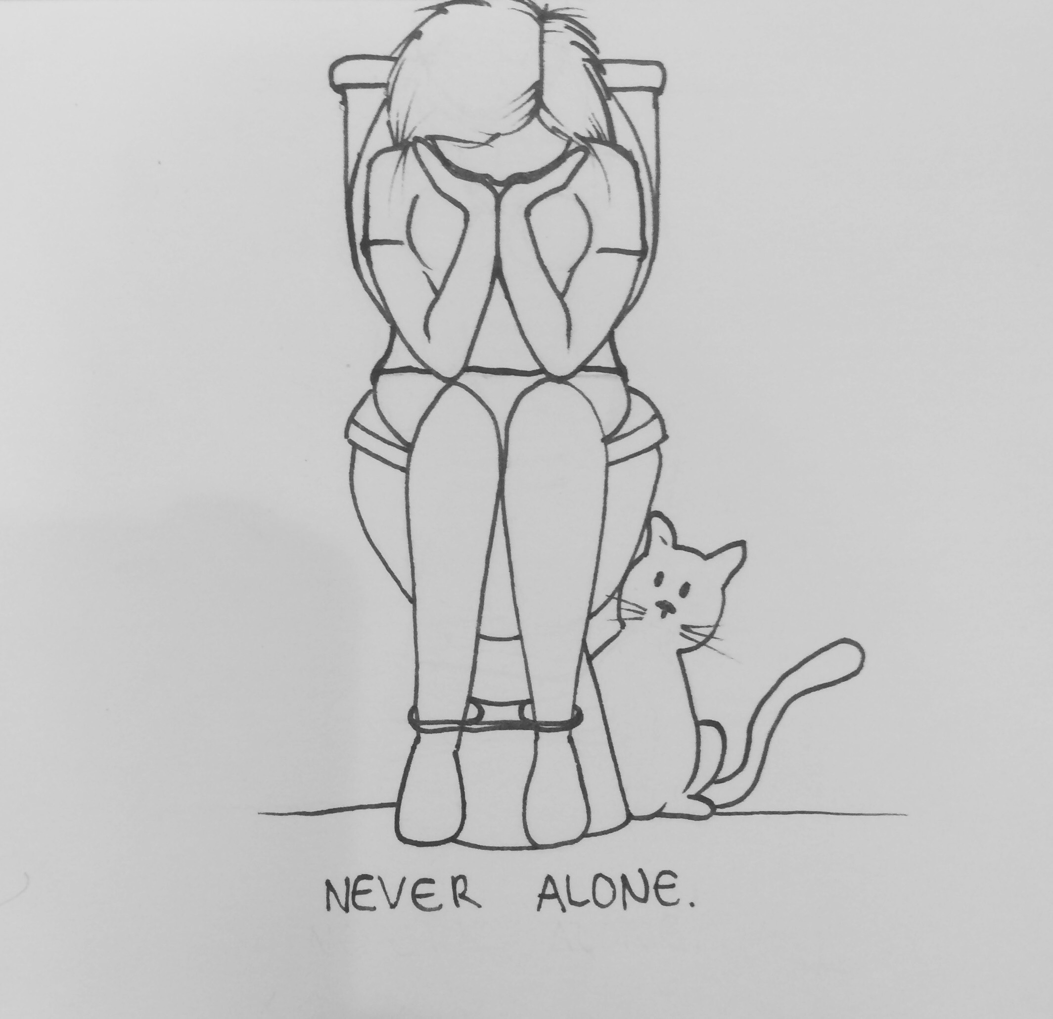 Never Alone , 2017, Ink on paper, 5.75 in x 5.75 in