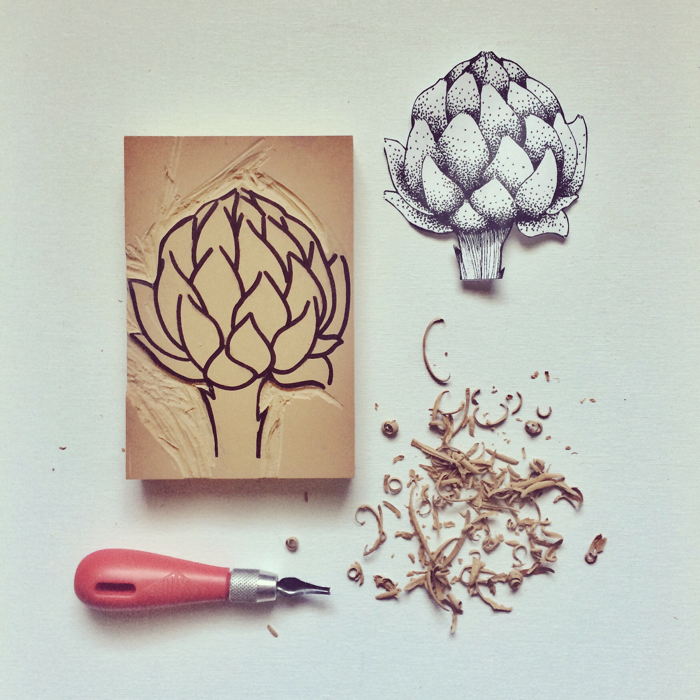 Artichoke in Process I , 2018, Linoleum Block