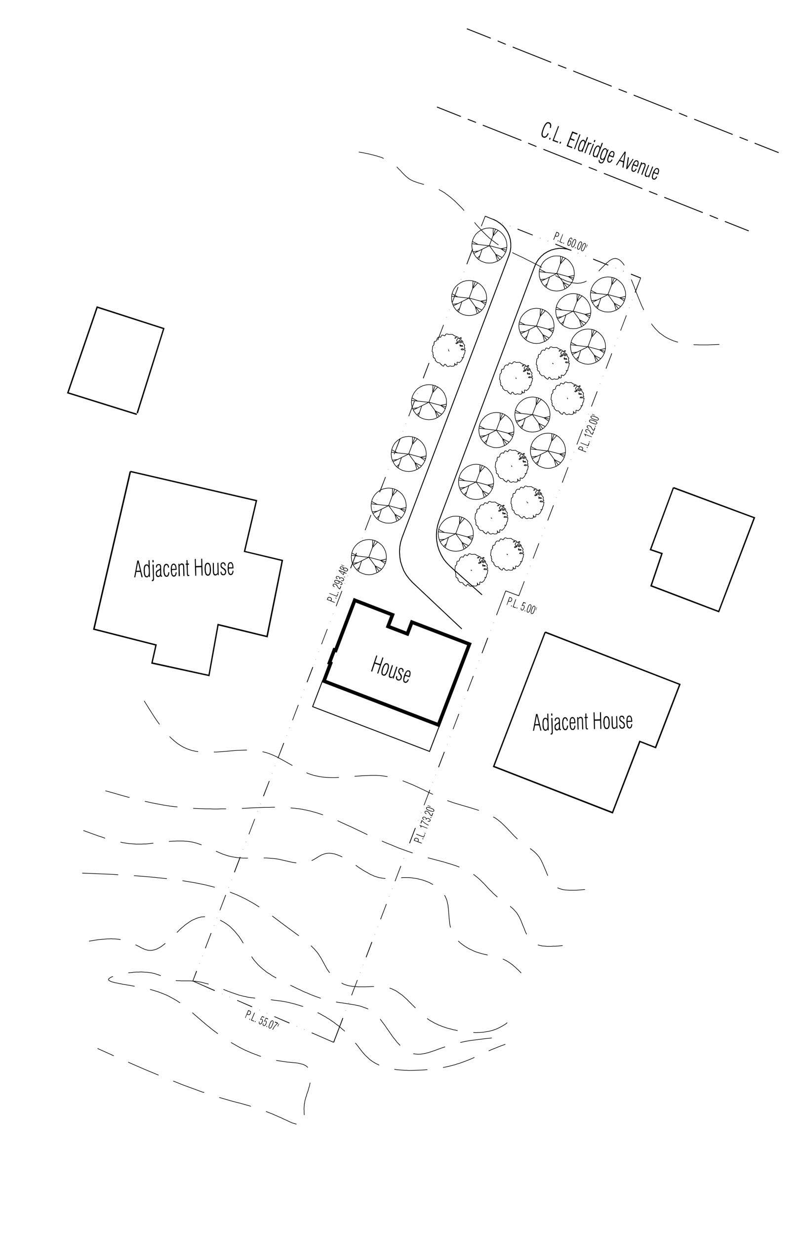 The site plan shows the location of the proposed house relative to the property boundaries and adjacent homes.
