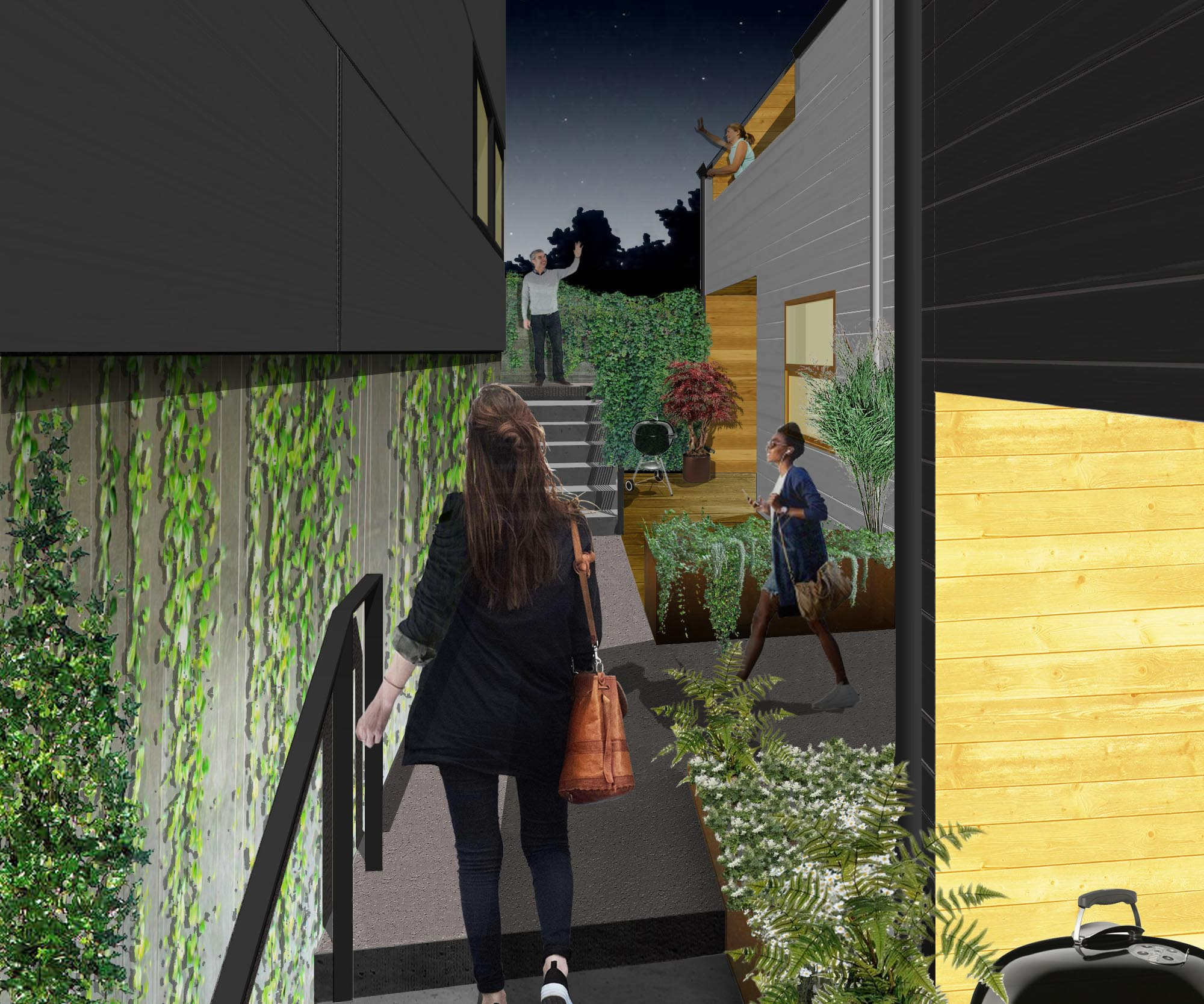 Stepped pathways and patios serve as social places where neighbors can meet neighbors