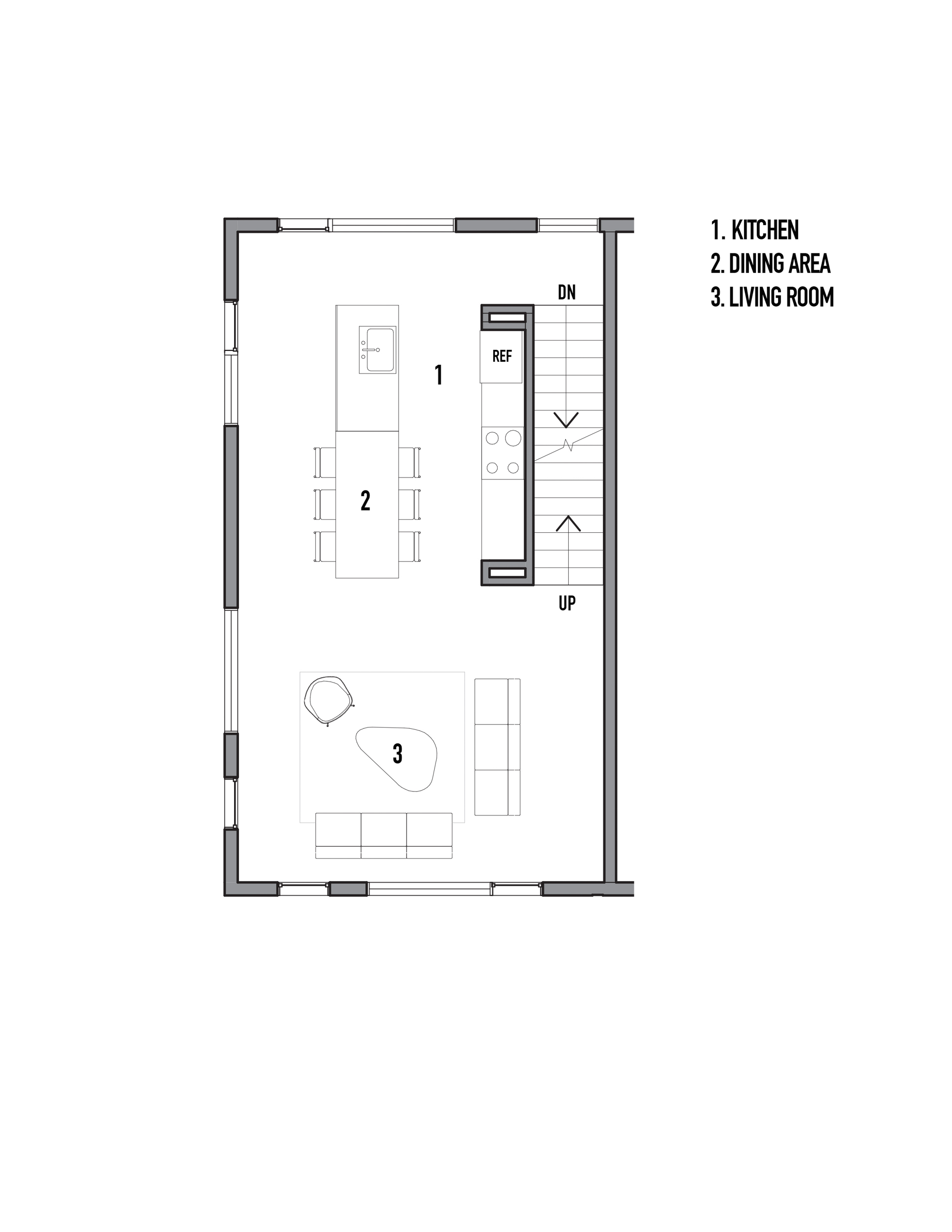 The kitchen and living room layout maximize the small footprint
