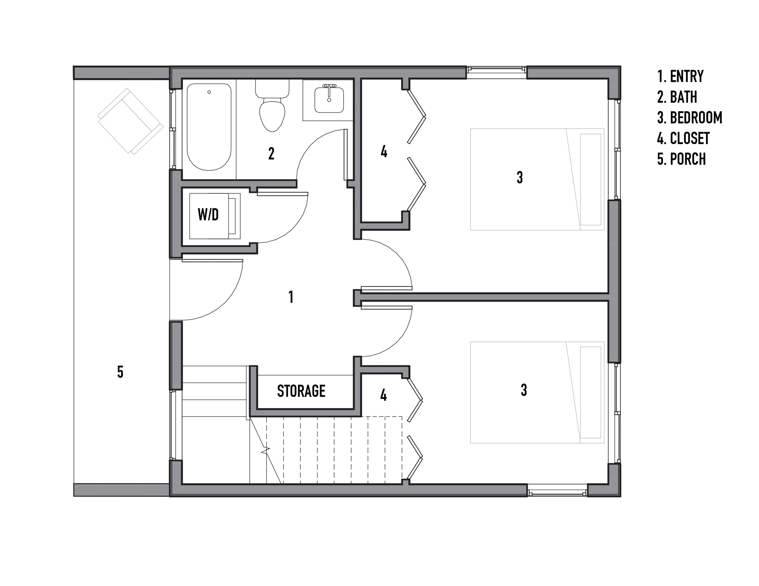 The reverse floor plan puts two bedrooms on the ground floor