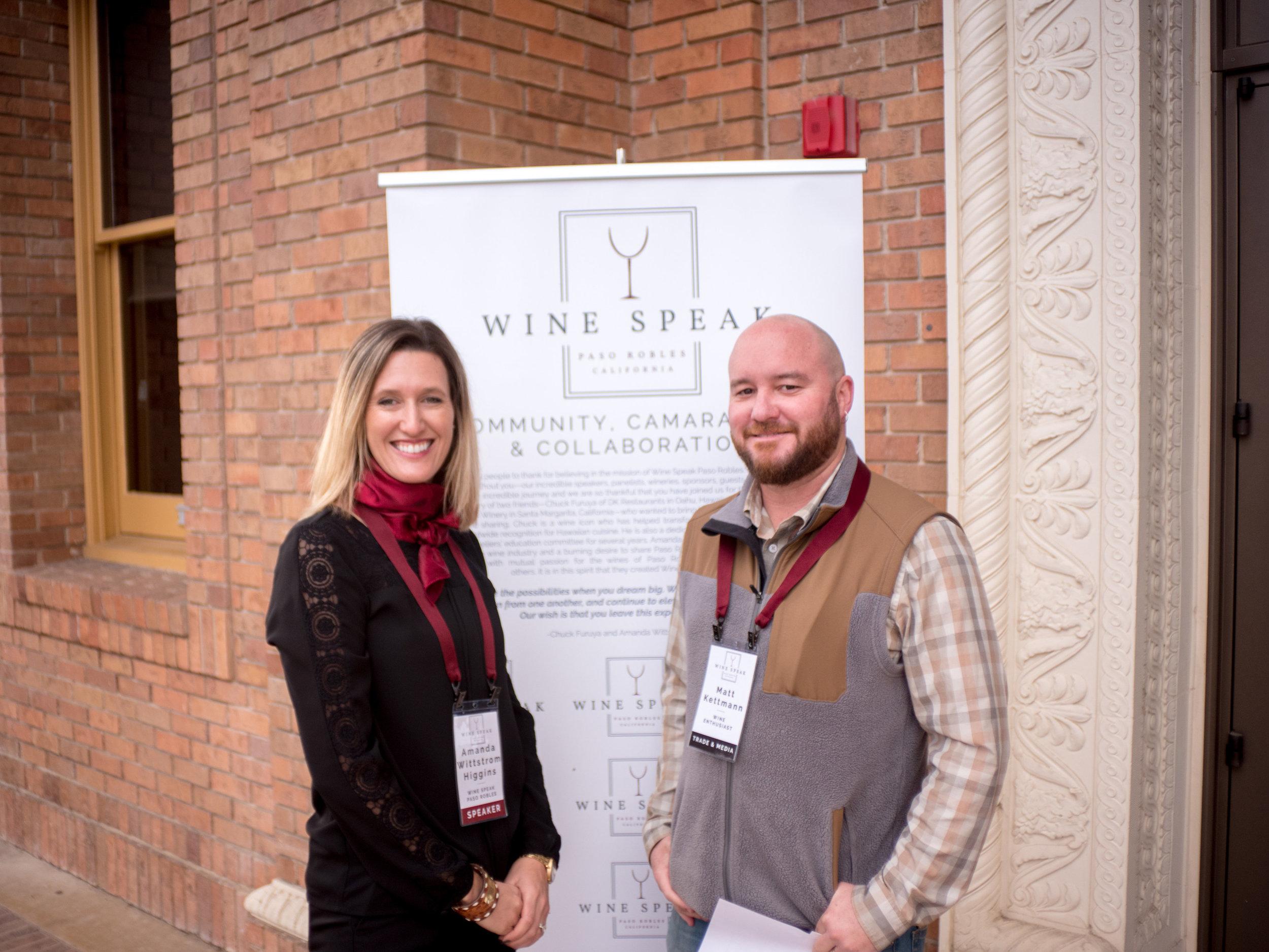 Amanda Wittstrom Higgins & Matt Kettmann at the inaugural Wine Speak event.