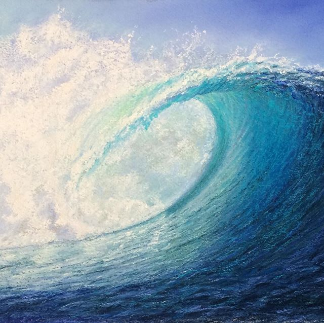 In honor of International Surfing Day- an original pastel from 2017 of Cloudbreak - let's keep our oceans and waves beautiful ❤️🌎🌊. @laskelly @surfrider @surfersjournal @newportbeach  @urchinseaorg @huseskellygallery @eeyuhnn @thayer306 @scott_g_thayer  #pleinairartist #lisaskellyfineart #cloudbreak #cleanupouroceans #cleanwaves  #loveourplanet  #travelartist  #urchinsea