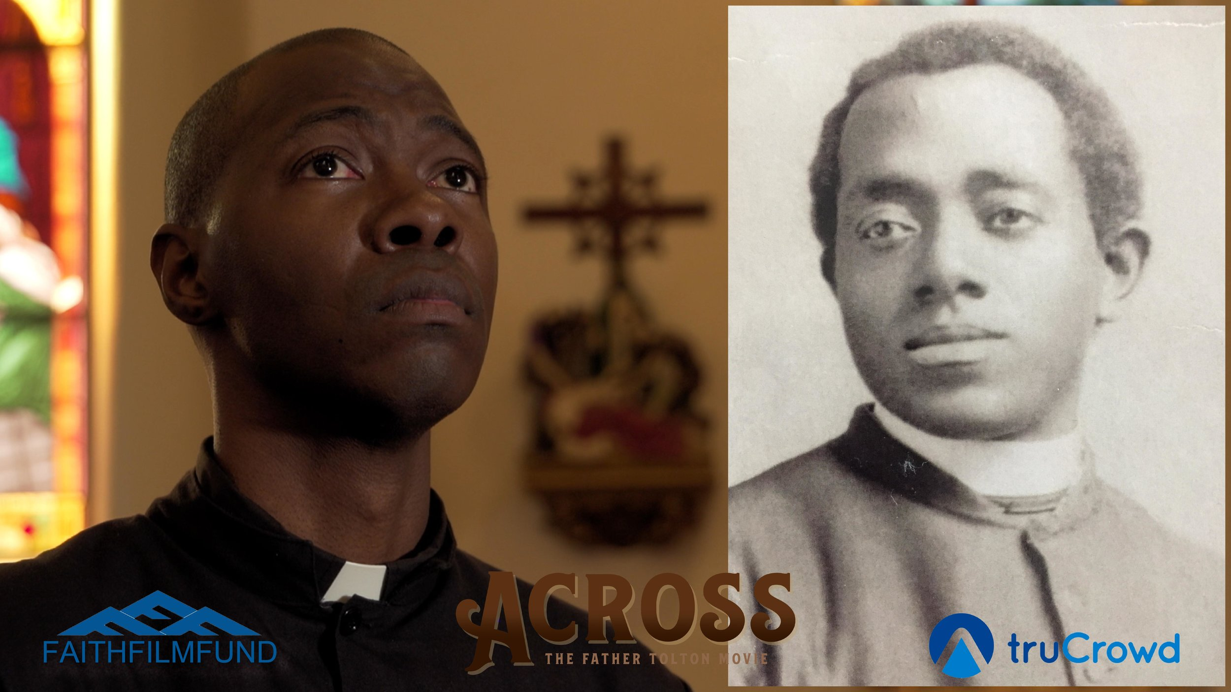 Shawn Whitsell next to a photo of the man he portrays, Father Tolton, in the short film,  Across .
