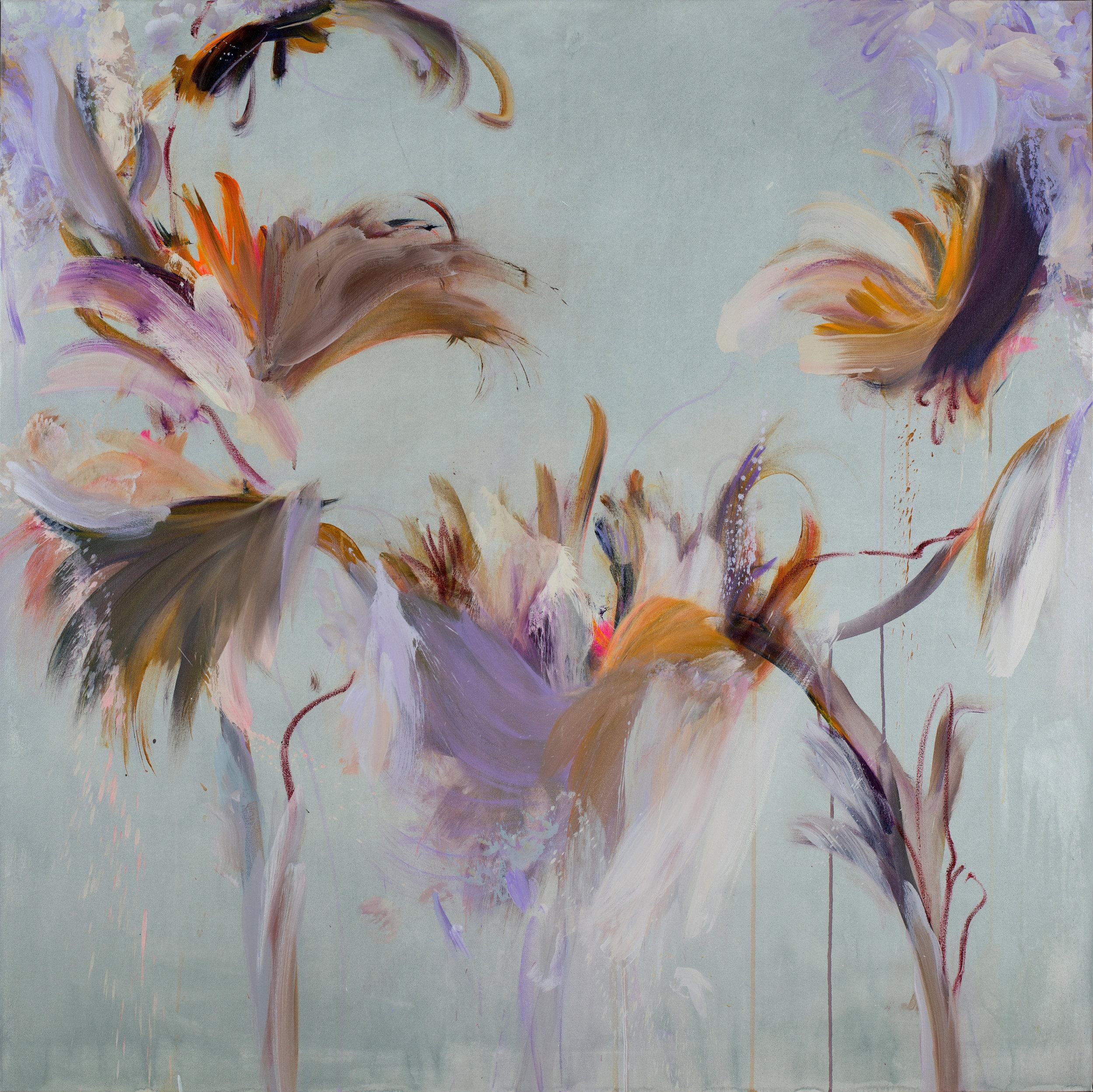 "Lush   Mixed media on canvas (59""x59"")"