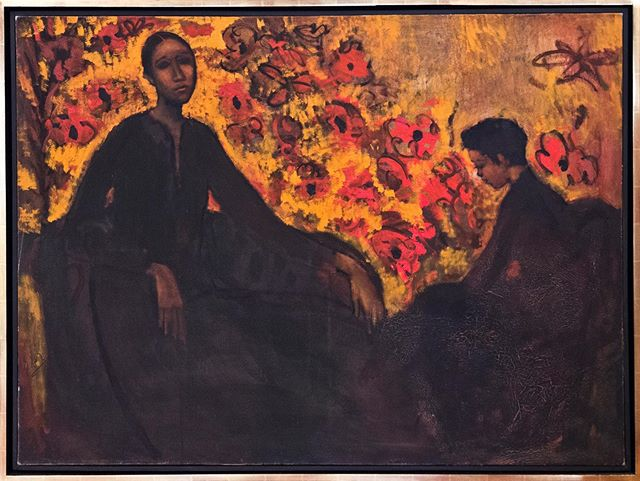 Geoffrey Holder 1930-2014 Portrait of wife Carmen de Lavallade and son Leo Holder #africanamericanartists #art #carmendelavallade #leoholder #rafaelgallery