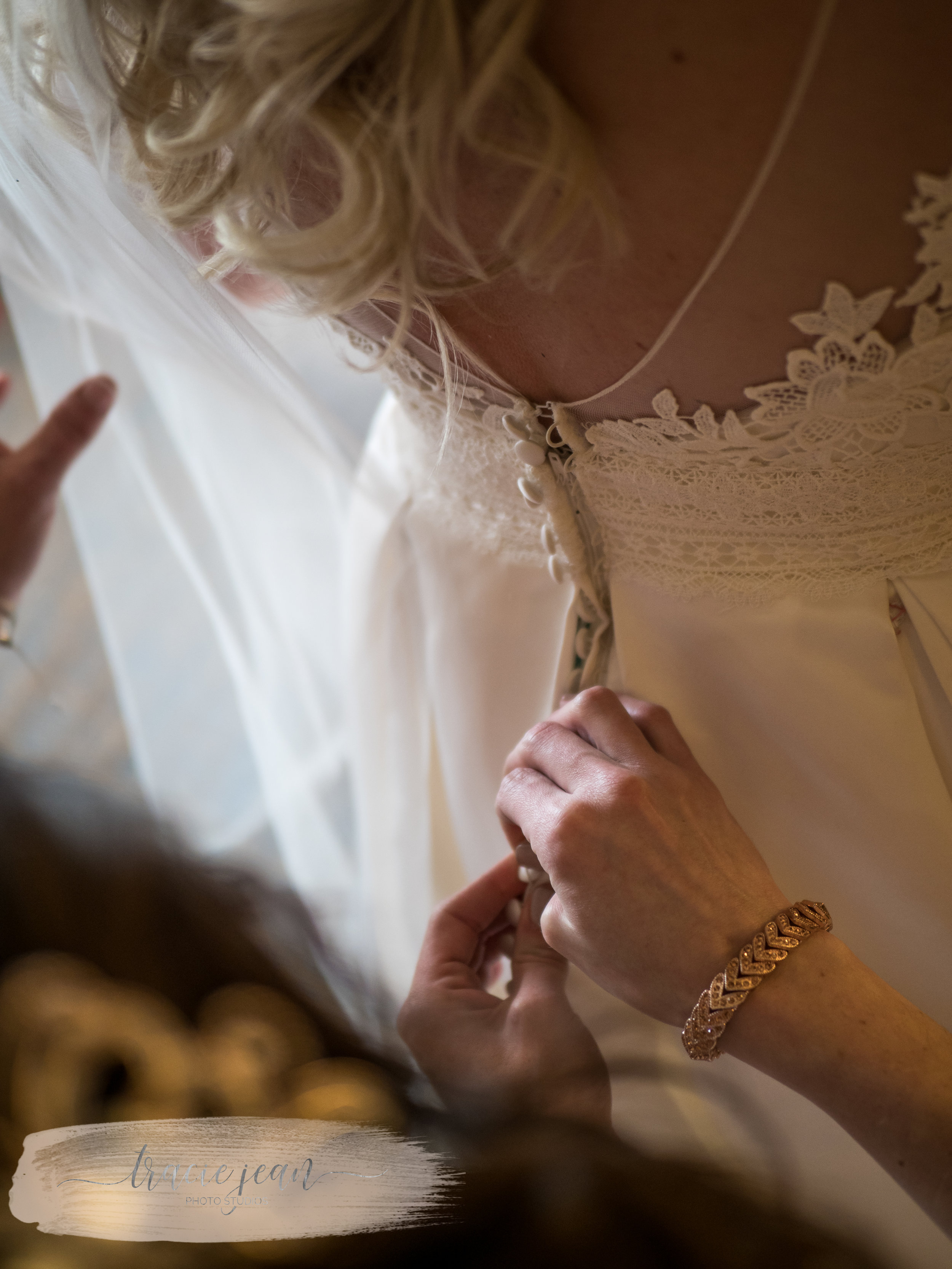 Fastening the Brides Gown