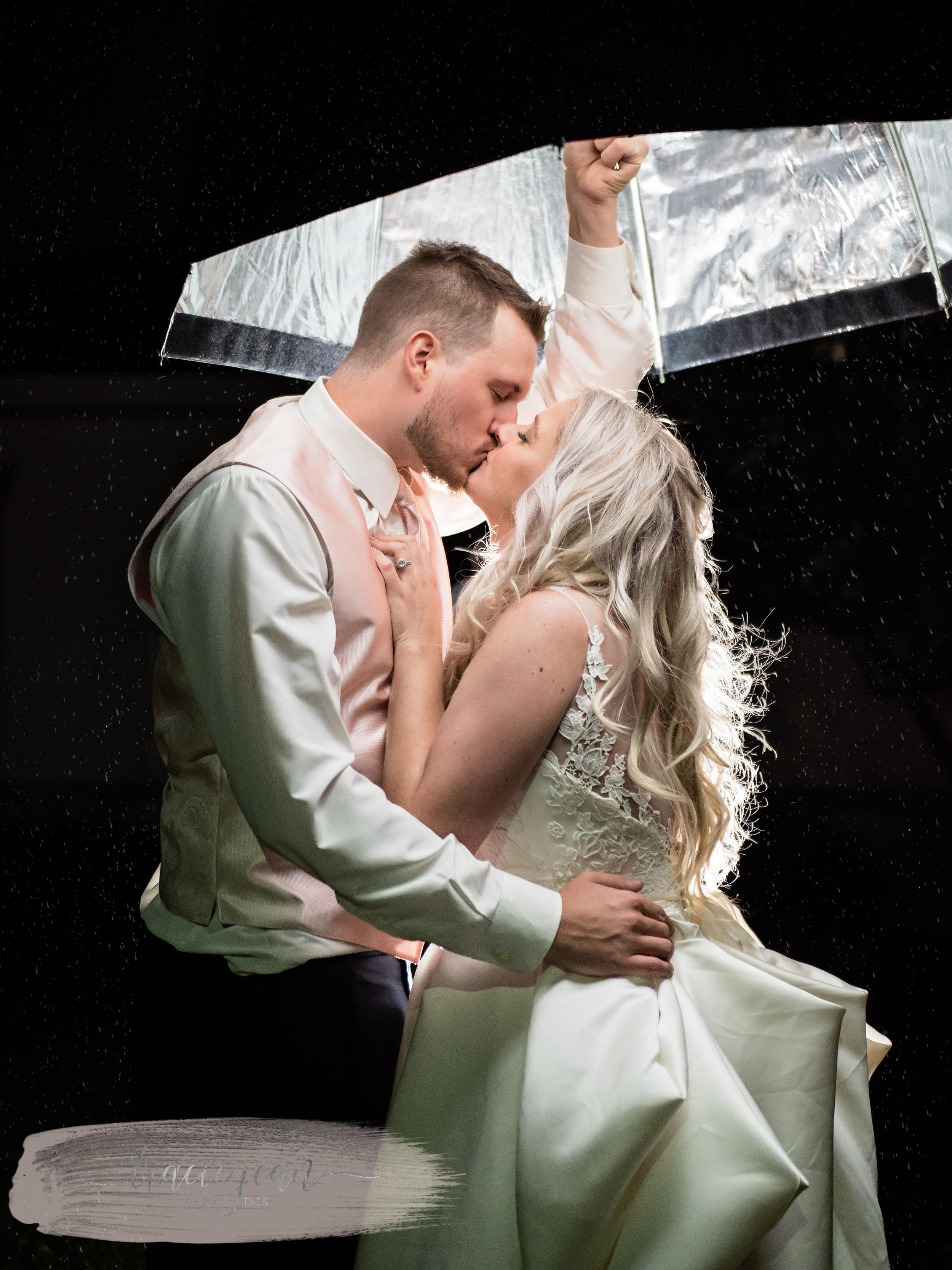 Bride & Groom in the Rain