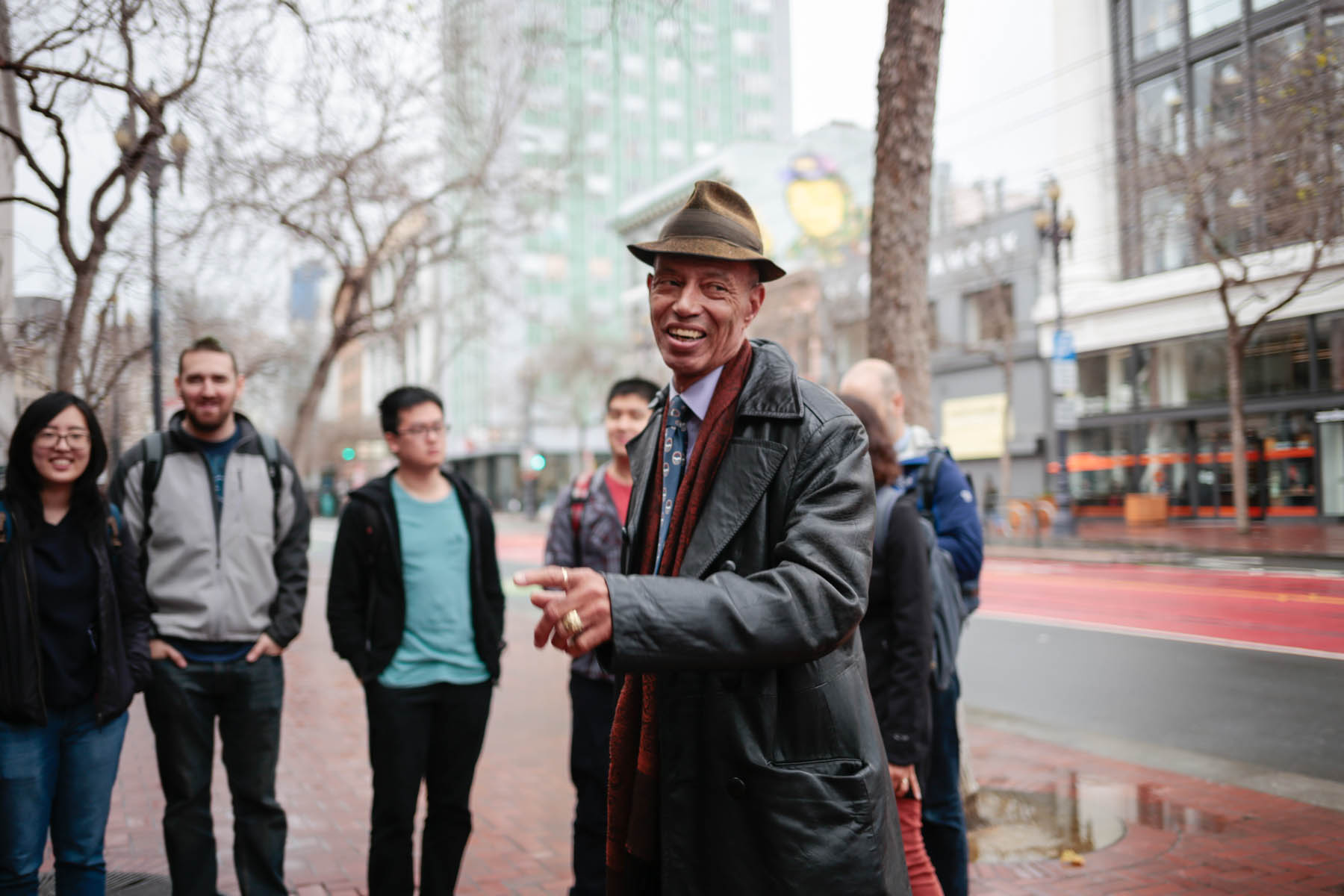 """A veteran and compassionate neighbor, Del Seymour has been a member of the Tenderloin community for the past 30 years. He is a leader in the neighborhood, working closely with Glide Memorial Church, St. Antony's, and Swords to Plowshares. He is also co-chair of San Francisco's Local Homeless Coordinating Board and has an appointed position with the St.Francis TL HIP Board. This whole endeavor began eight years ago when Del founded Tenderloin Walking Tours in order to """"present the Tenderloin in a favorable setting."""" In 2015, he founded Code Tenderloin to address the economic inequality he saw in his beloved neighborhood."""