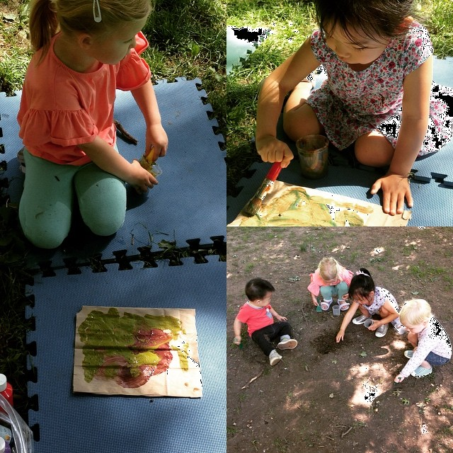 "Making ""mud paint"" with Garrett in our Nature Explorers class!"