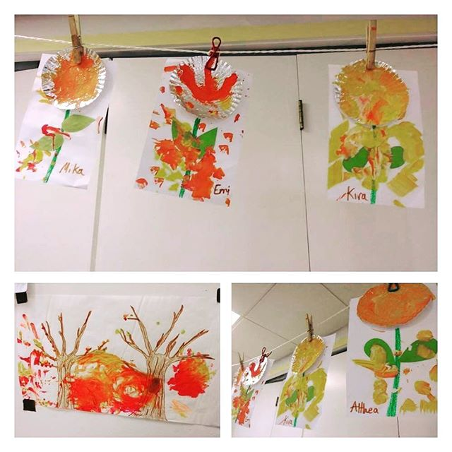 Celebrating Fall by having fun with finger paints in our Art class!  #art #artwithkids #paint
