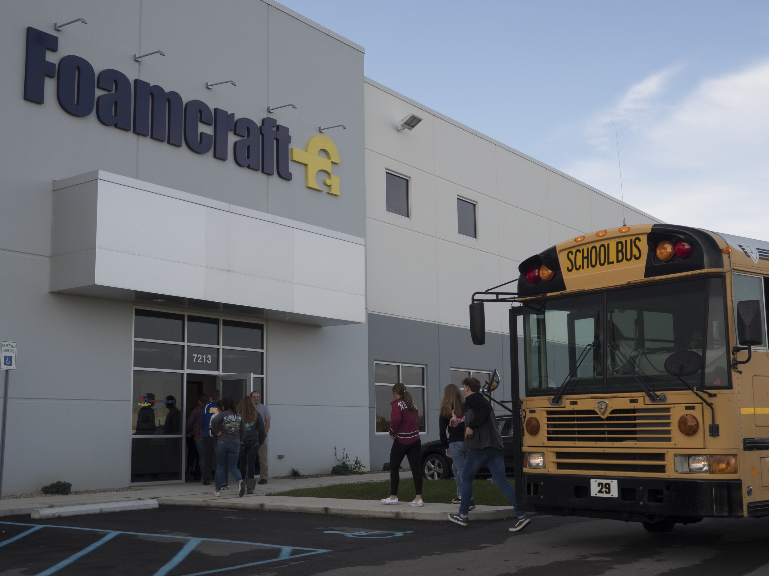 Greenfield Central students enter the Comfort Option showroom. There were two total busloads!