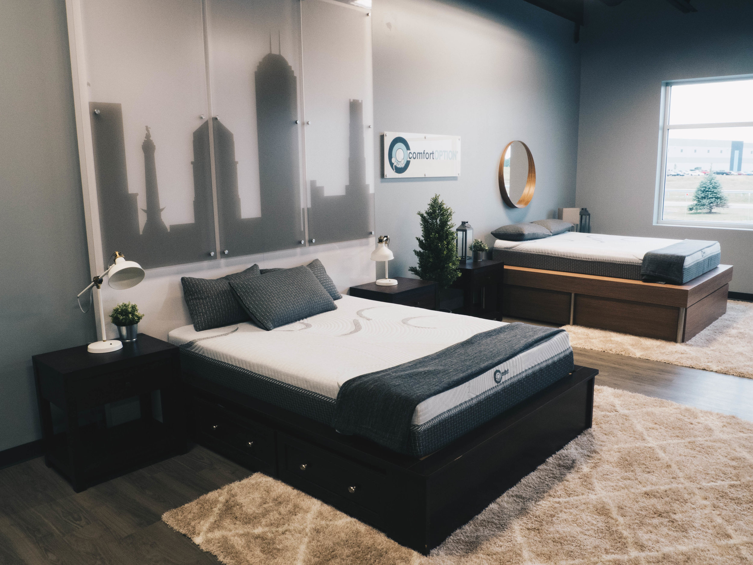 Comfort Option mattress showroom, attached to our manufacturing facility.