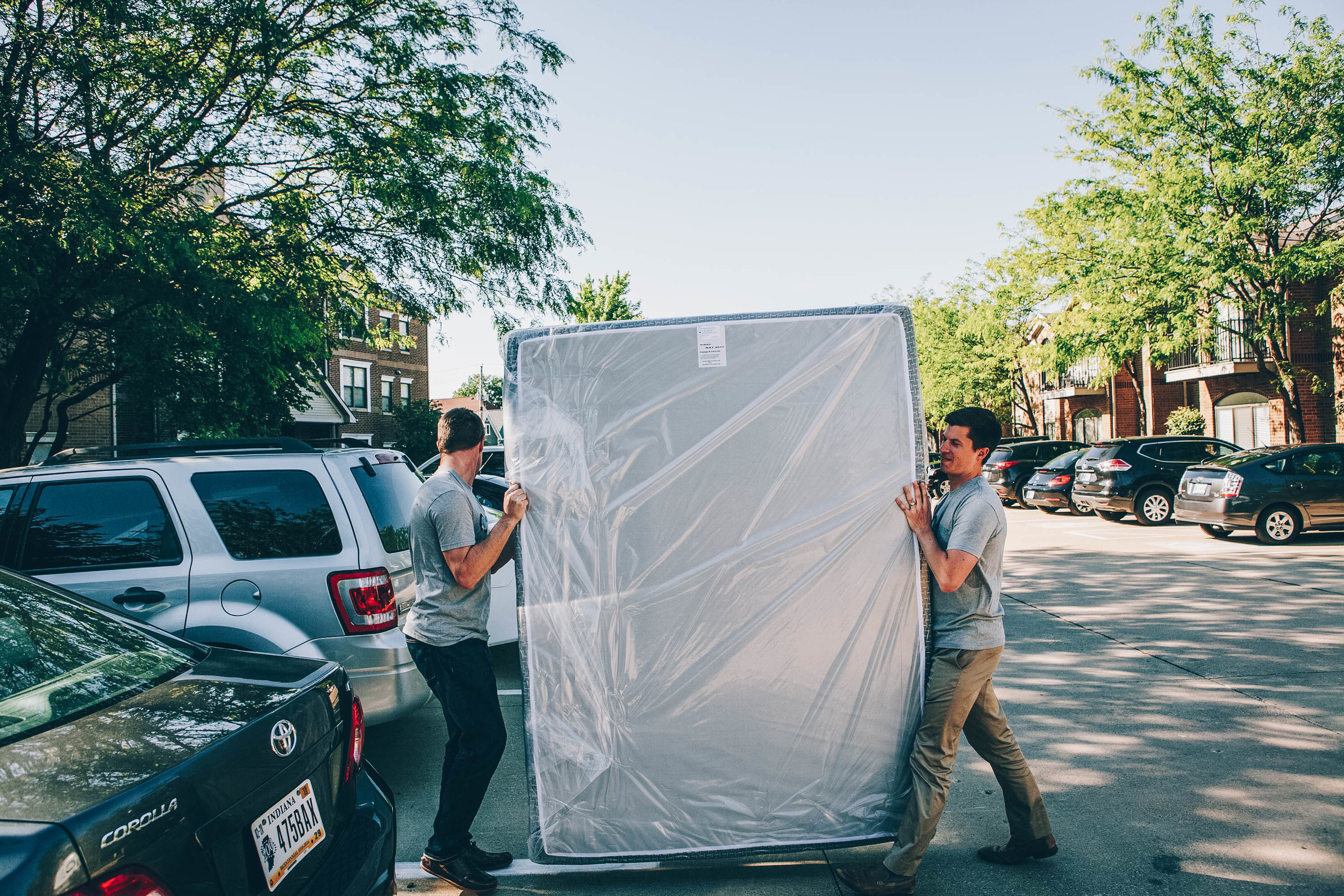 Nathan and Landon delivering a custom made mattress in Indianapolis, Indiana.