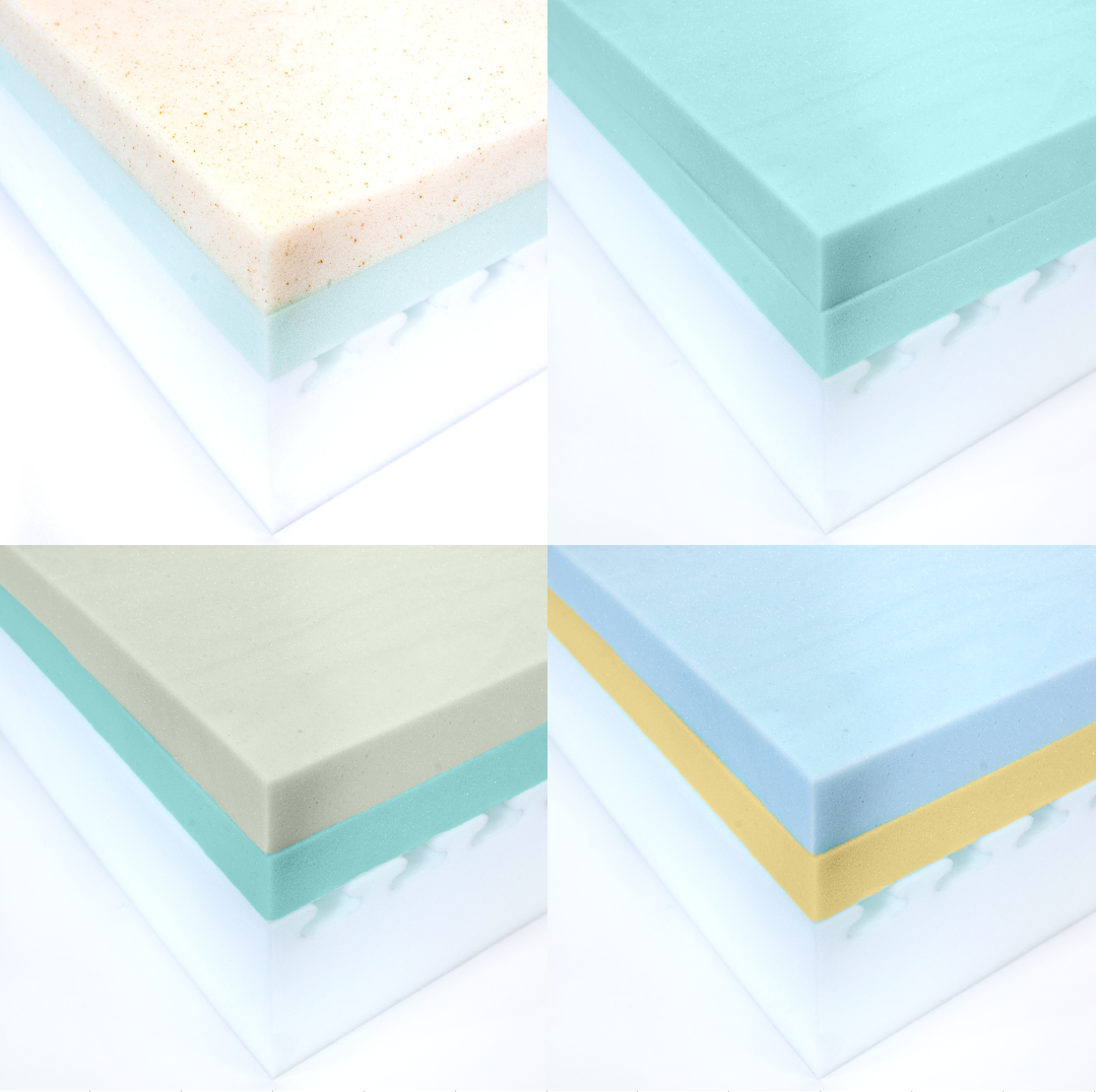 A full variety of customized, foam mattresses that give any feel you want, from soft to firm, slow-recovery of memory foam to the bounce of latex-like foams.