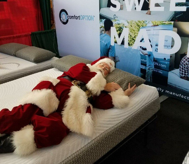 Santa Claus himself, sleeping on a Comfort Option mattress. What's better than a holiday mattress sale? A Comfort Option mattress. No fake sales or gimmicks included.
