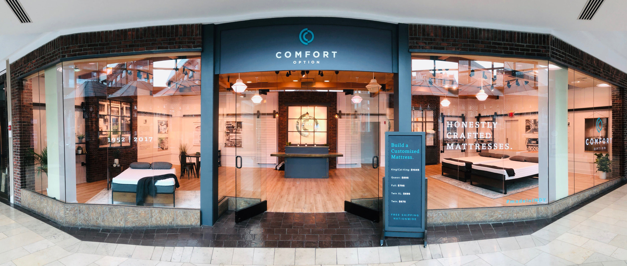 Comfort Option downtown Indianapolis mattress store in Circle Centre Mall.
